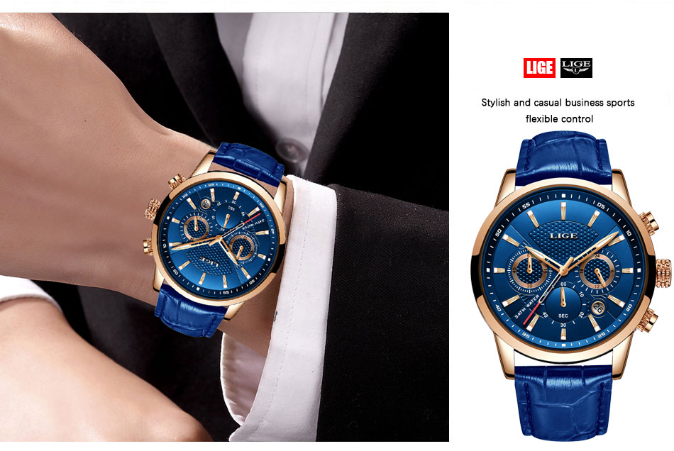 H531e00bcf72443ddb846115001226e8fm LIGE New Men Watch Top Brand Blue Leather Chronograph Waterproof Sport Automatic Date Quartz Watches For Mens Relogio Masculino