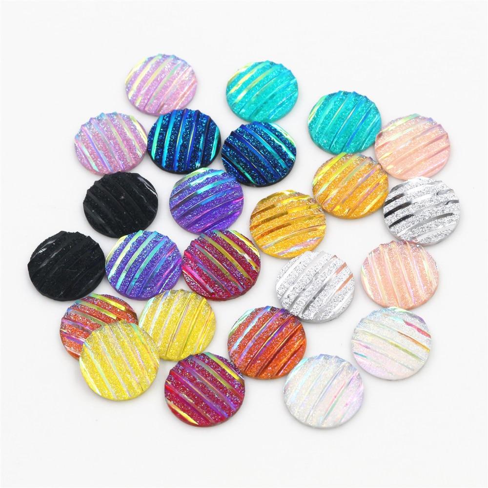 New Fashion 40pcs 12mm Mix Colors Scrub Stripe Horizontal Line Flat Back Resin Cabochon For Bracelet Earrings Accessories