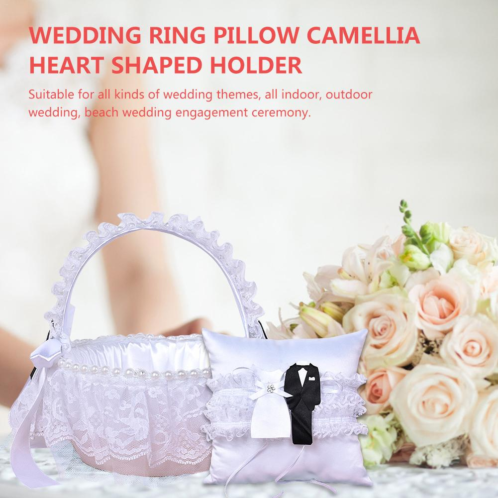 Wedding Ring Cushion Pillow Flower Basket Set Wedding Ring Pillow Camellia Heart Shaped Holder White For Wedding Ceremony Tools