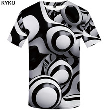 KYKU 3d Tshirt Men Psychedelic T-shirt Dizziness Print t shirt Black And White Short Sleeve Funny T shirts summer Mens Clothing стоимость