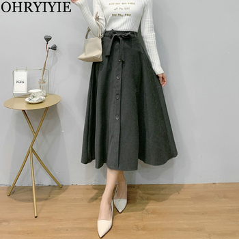OHRYIYIE Gray Women Vintage High Waist A-Line Skirt Autumn Winter Female Elegant Fashion Korean Midi Long Pleated Skirt With Bow diamond striped pleated skirt fashion elastic waist a line elegant long skirt for women autumn winter streetwear patchwork skirt