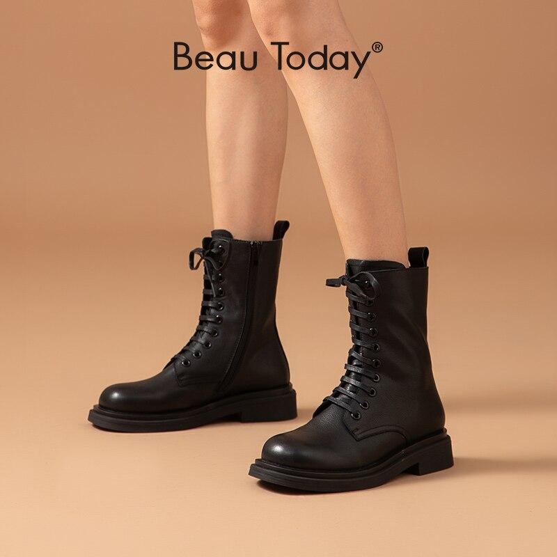 BeauToday/женские ботильоны из натуральной коровьей кожи, на молнии, на шнуровке, с круглым носком, в винтажном стиле; Модная женская обувь в байкерском стиле ручной работы; 04034|Полусапожки|   | АлиЭкспресс