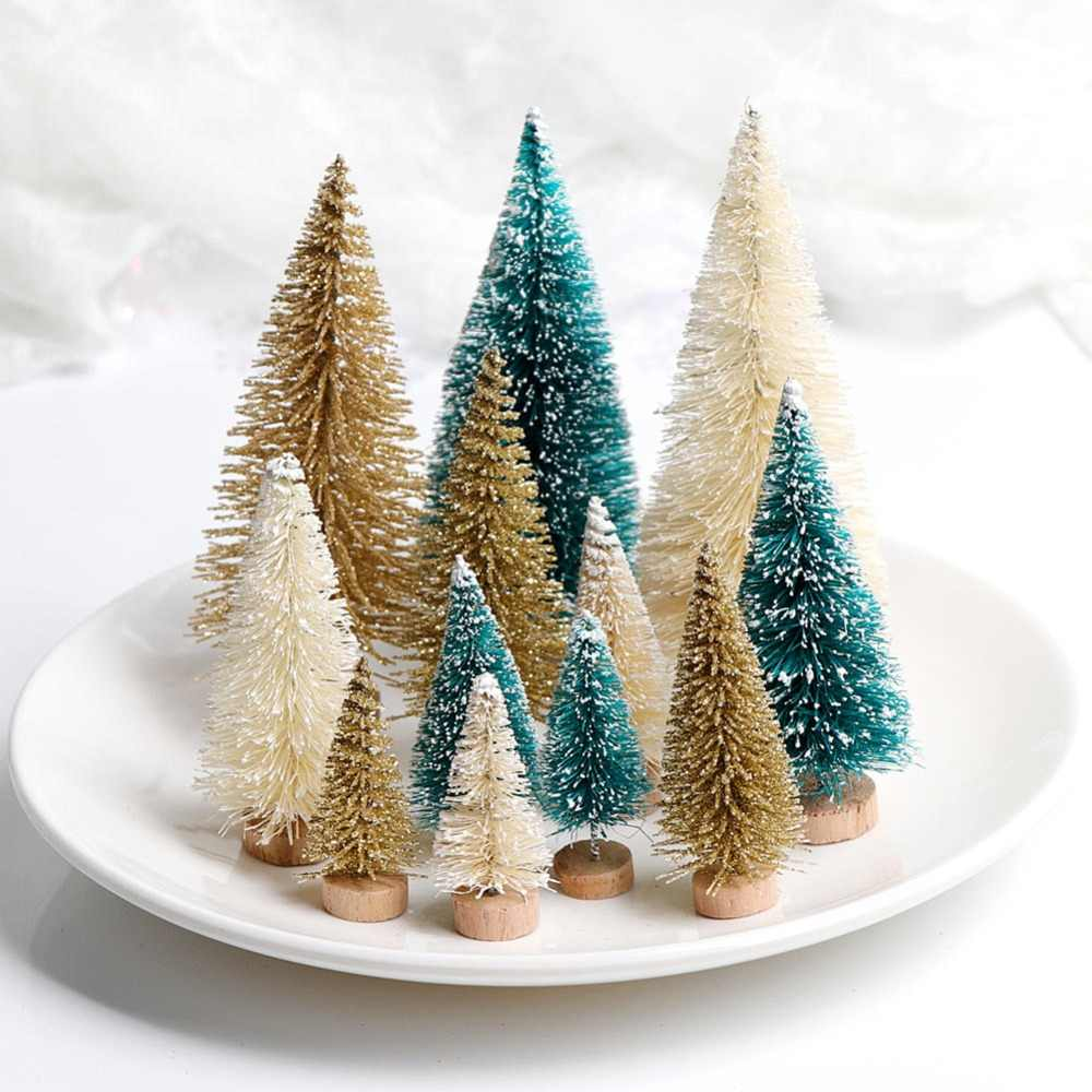 8pcs Small DIY Christmas Tree Fake Pine Tree Mini Sisal Bottle BrushSnow Frost Village House DIY Craft Desktop Decoration