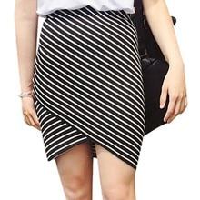 Striped Print Skirt Sexy Slim Cotton New Fashion Trend High Waist Black/White 2 Color Womens & Club  Pencil