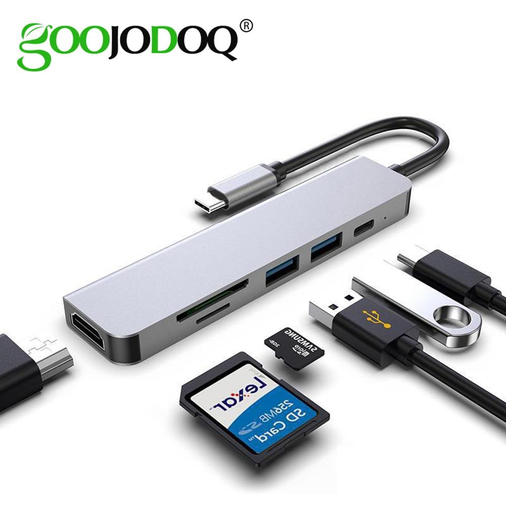Usb-хаб C HUB адаптер 6 в 1 взаимный обмен данными между компьютером и периферийными устройствами C до USB 3,0, совместимому с HDMI док-станция для MacBook ...