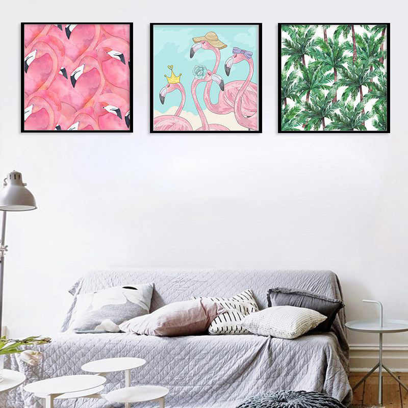 Pink Flamingo Green Plants Trees Flower Paintings Nordic Canvas Pictures Wall Art Modern Printed Animal Poster Living Room Decor