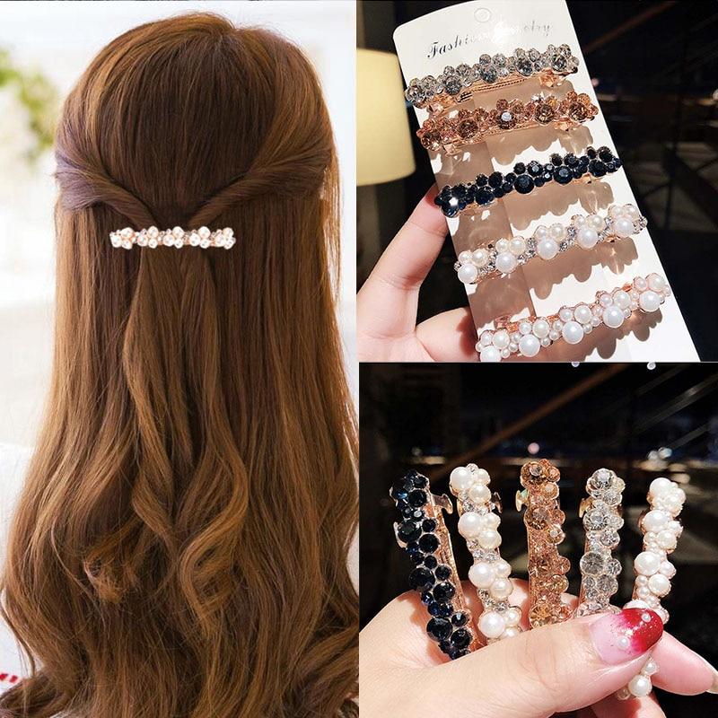 New Women Elegant Pearls Crystal Shining Barrettes Hair Clips Headwear Hair Holder Hairpins Beautiful Headbands Hair Accessories
