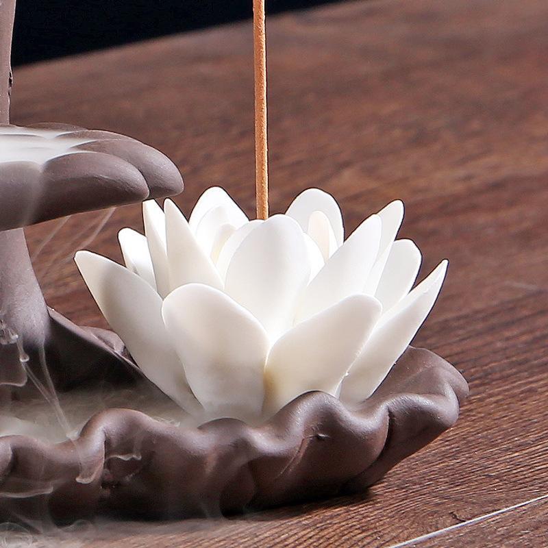 shangji Soporte de Incienso de Loto Blanco Soporte de Incienso de cer/ámica para palitos Incienso de Flores Quemador Soporte de Incienso Shiva para Yoga Meditaci/ón de Oficina en casa