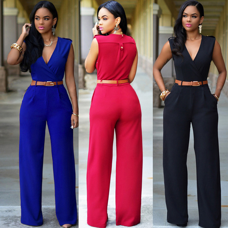 Fashion Women Jumpsuit V Neck Pocket Sleeveless High Waist Wide Leg Romper Casual Summer Female With Waist Band Elegant Overalls