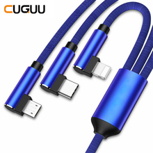 3 in 1 USB Cable For iPhone Lighting Micro Type C Fast Charging 90 Angle Charger Data Cables 1.2m Wire Phone