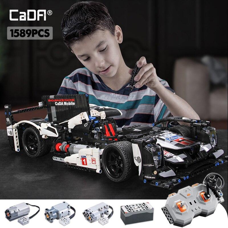 Cada 1589PCS RC Endurance Racing Car Building Blocks Compatible Legoing Technic MOC Model Remote Control Vehicle Toys For Kids