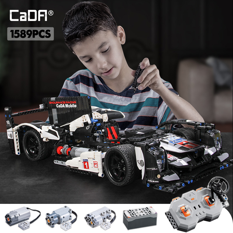 Cada 1589PCS RC Endurance Racing Car Building Blocks For Legoing Technic MOC Model Remote Control Vehicle Toys For Kids
