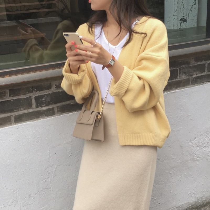 New Oversize Women's Sweaters Autumn Winter Fashionable Vintage Yellow Cardigans Single Breasted Puff Sleeve Loose Cardigan