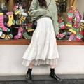 Длинные фатиновые Миди-юбки женские 2021 Осенняя эластическая Высокая талия сетки плиссированные юбки в складку Женская черный, белый цвет д...
