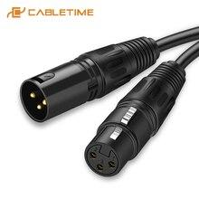 CABLETIME – câble de Microphone XLR, prise de canon, câble XLR, Extension de câble de guitare, ligne de Microphone pour mélangeur audio, amplificateurs C117