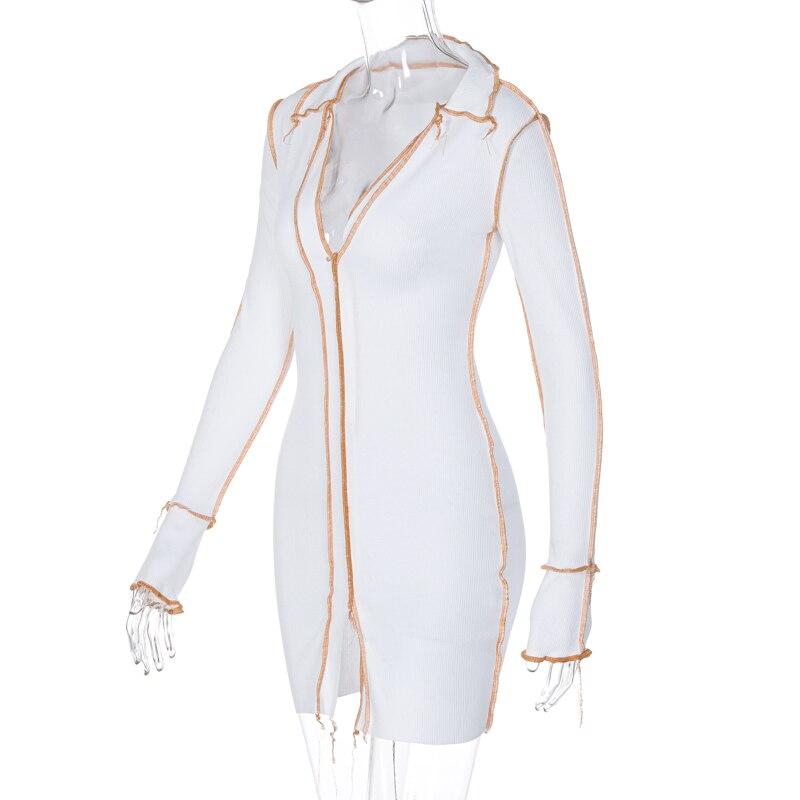 H531edd1a39fa4371a9749789ba1289424 - Hugcitar 2020 Long Sleeve Patchwork Sexy Mini Dress Autumn Winter Women Fashion Streetwear Outfits Clit Club Y2K Clothing