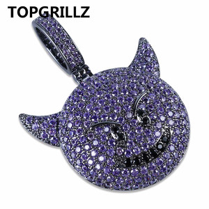 Image 3 - TOPGRILLZ Personality  Iced Out Cubic Zircon Plated Demon Dog Monkey Heart Smile Pendant &Necklace Hip Hop Jewelry For Gifts