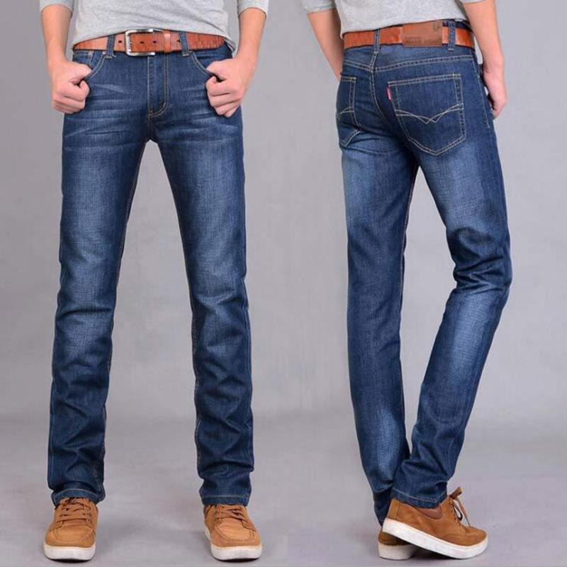 Men Cotton Straight Classic   Jeans   Spring Autumn Male Denim Pants Overalls Designer Men   Jeans   High Quality