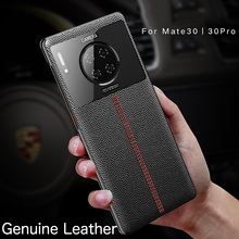 Genuine Leather plating Case For Huawei Mate 30 Pro Mate30Pro cover Business First layer real cowhide Sewing line case