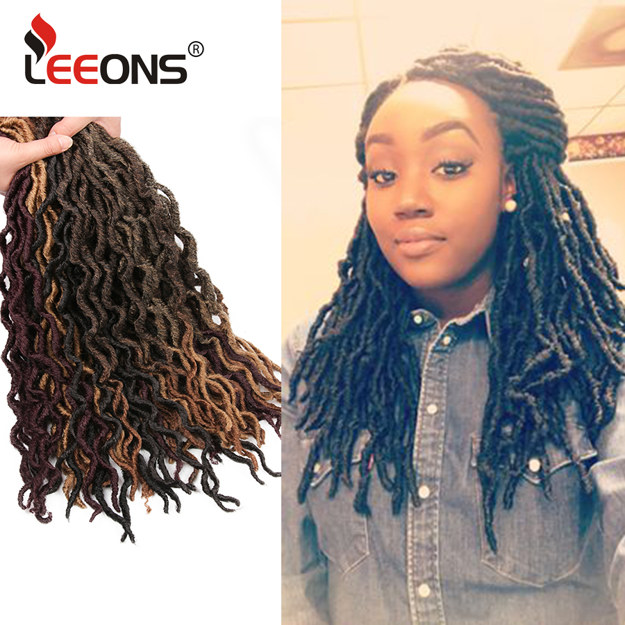 Leeons New Faux Locs Curly Crochet Braids Kanekalon Ombre Dreadlocks Hair Synthetic Nu Locs Braiding Hair Extensions 12/18Inch
