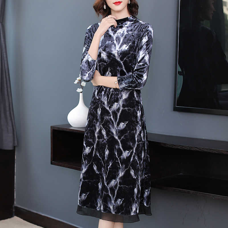 ТРАПЕЦИЕВИДНОЕ элегантное платье с оборками пэчворк с высокой талией, плюс размер, Повседневное платье с круглым вырезом и длинным рукавом, зимнее бархатное платье, Осеннее женское платье