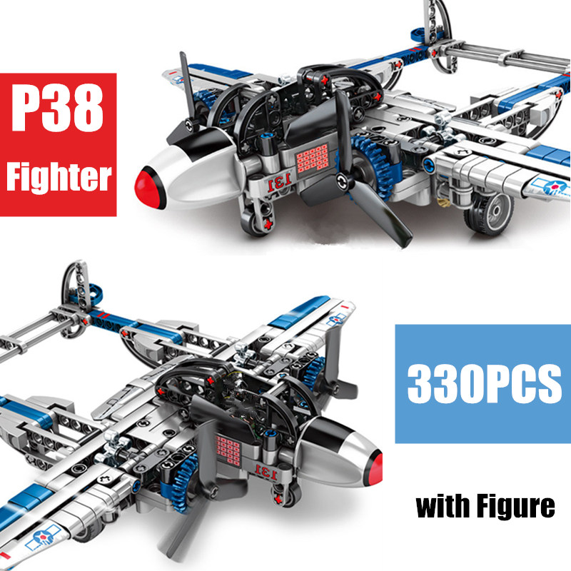 New Military World War II Army Weapons American P38 Plane SWAT Fighter Fit Lepining Technic Building Blocks Bricks Kid Gift Toys