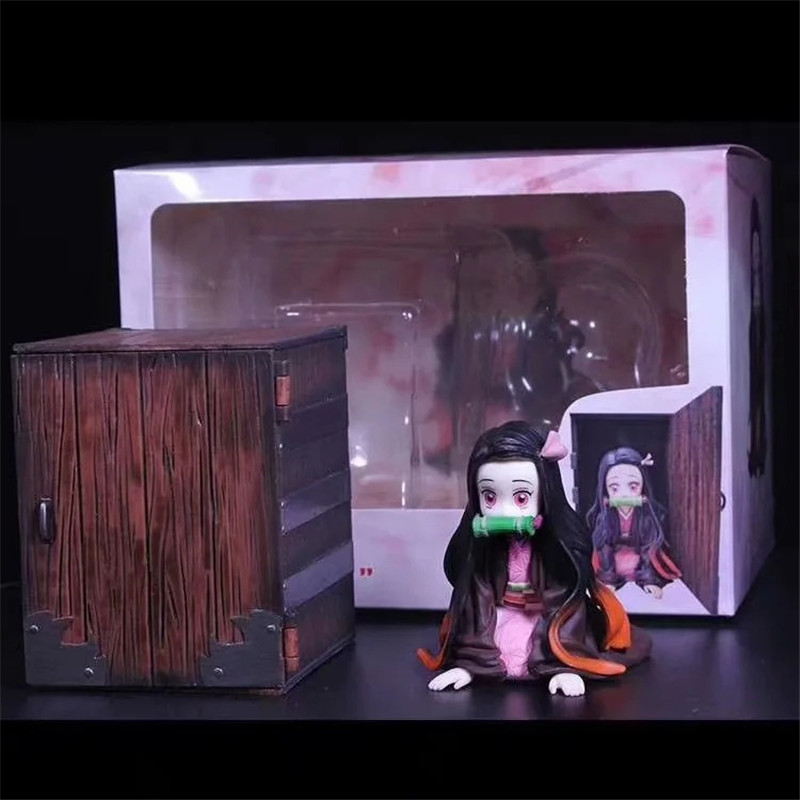 Demon Slayer Nezuko Figure Toy Anime Kimetsu No Yaiba Tanjirou Nezuko With Box Cute Toys Demon Slayer Figure 90mm