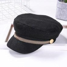 Женская Мягкая восьмиугольная кепка RB в стиле милитари, осенне-зимний Регулируемый Теплый Подарочный берет в британском стиле, боковой значок, Ретро стиль, новинка