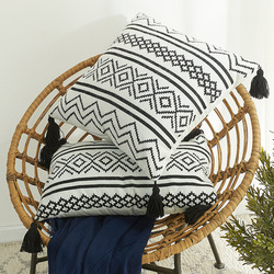 Nordic Moroccan Chenille geometric jacquard tassel pillowcase sofa cushion pillowcase cushion cover without pillow core