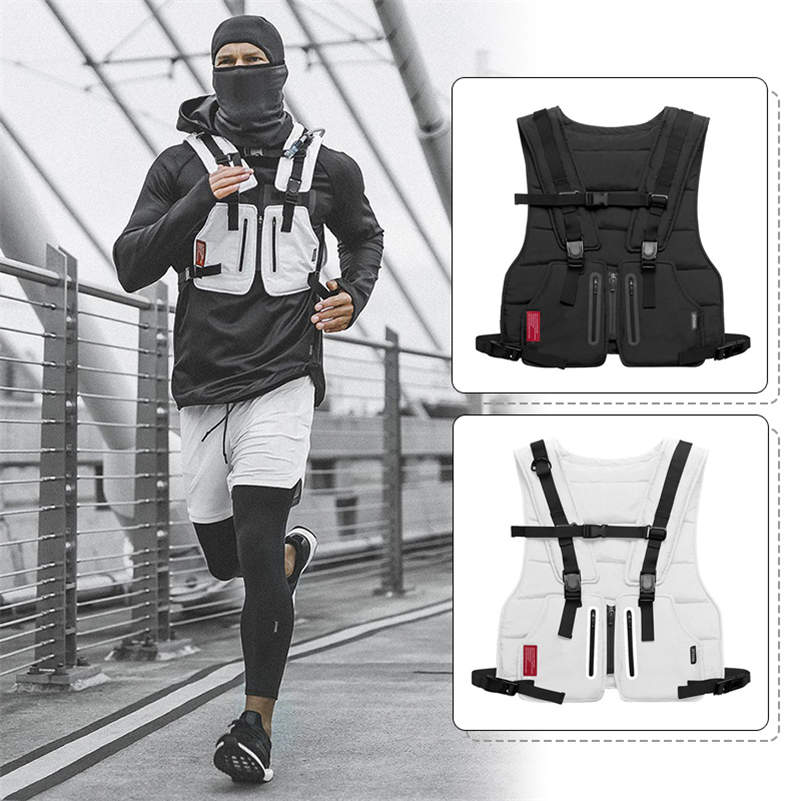 New Multi-function Tactical Vest Outdoor Sports Fitness Men Protective Tops Vest Zipper Pockets Waist Bag