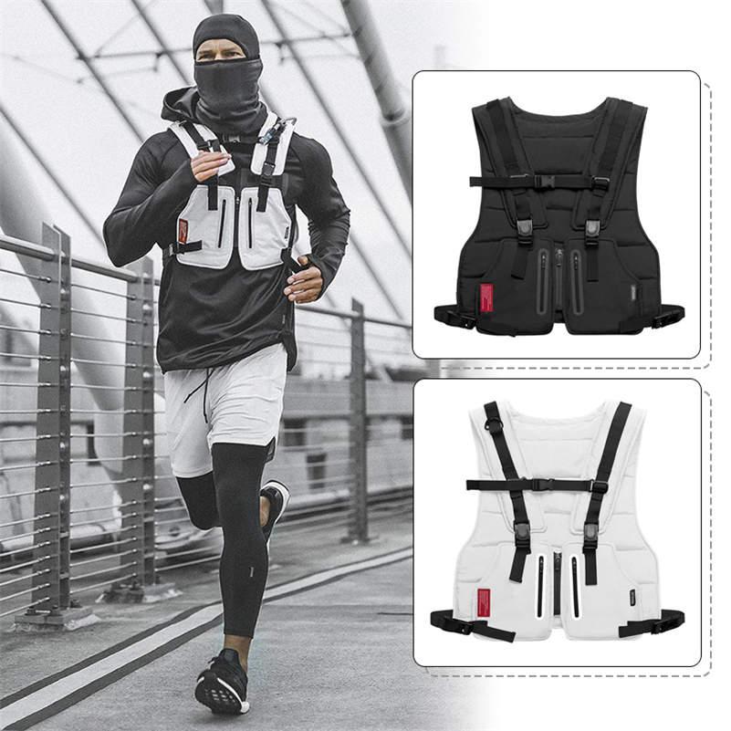 New Multi-function Tactical Vest Outdoor Sports Fitness Men Protective Tops Vest Zipper Pockets Waist Bag