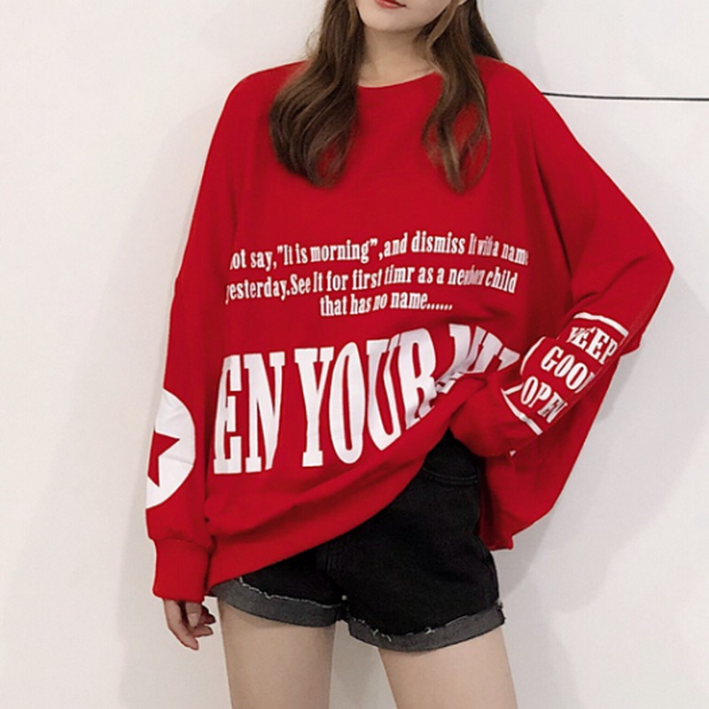 Oversize Womens Sweatshirt Streetwear Pullover Letter Printing Tops Spring Autumn Korean Harajuku Women Clothes
