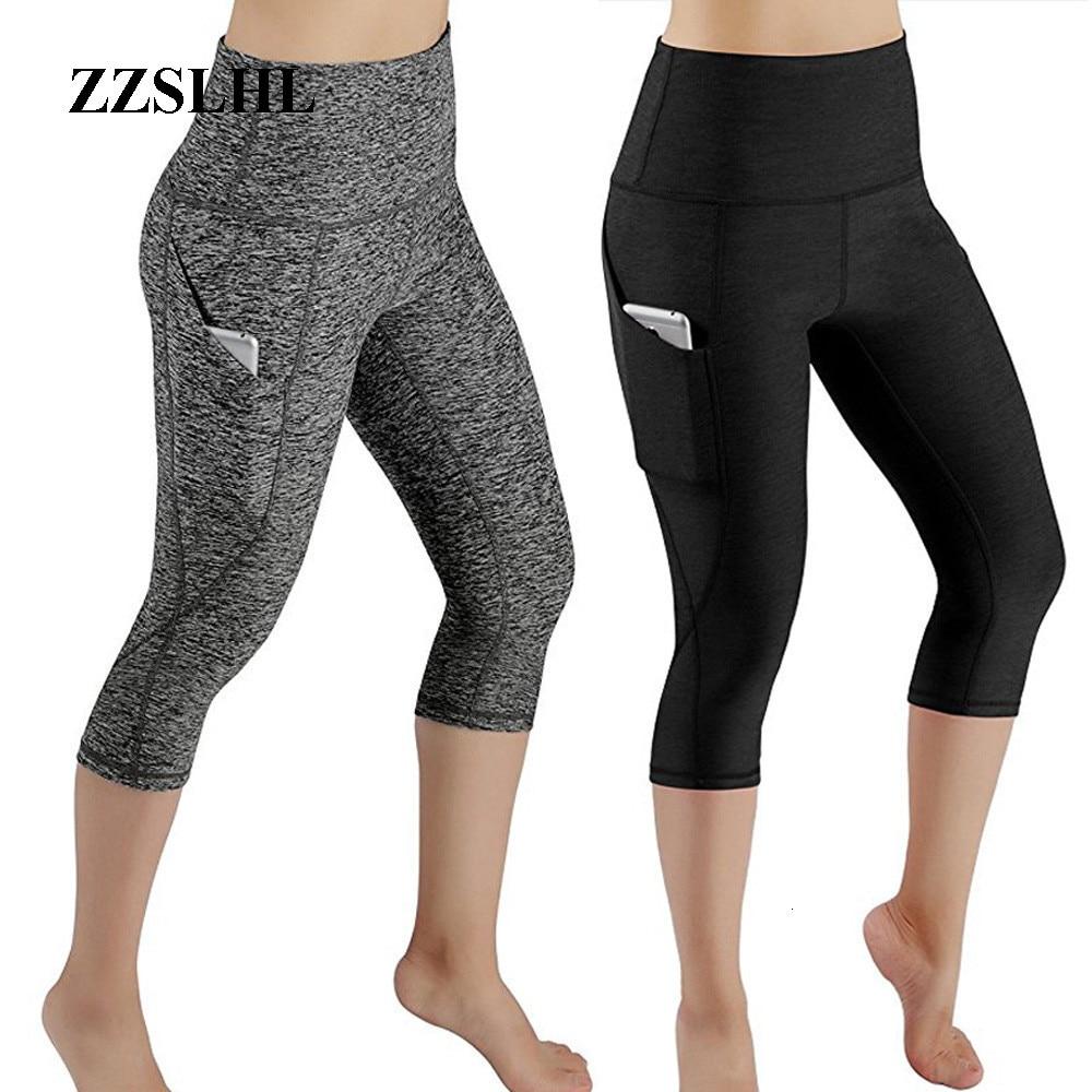 3/4 Yoga Pants Women Calf-length Pants Capri Pant Sport Leggings Women Fitness Lulu Yoga Gym High Waist Legging Girl Black Mesh