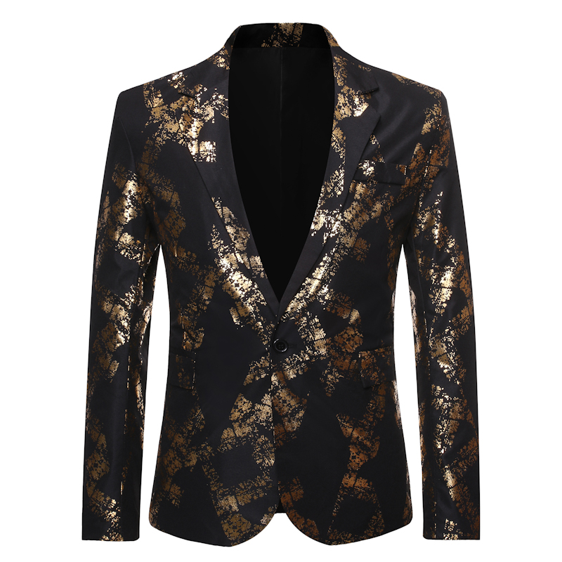 2019 New Men's One Button Gold Foil Printing Suit Wedding Suit Casual Blazer Men Golden Floral Printed Plus Size