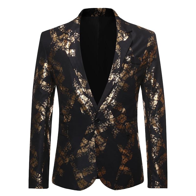 2019 New Men's One Button Gold Foil Printing Suit Wedding Suit Casual Blazer Men Golden Floral Printed Plus Size