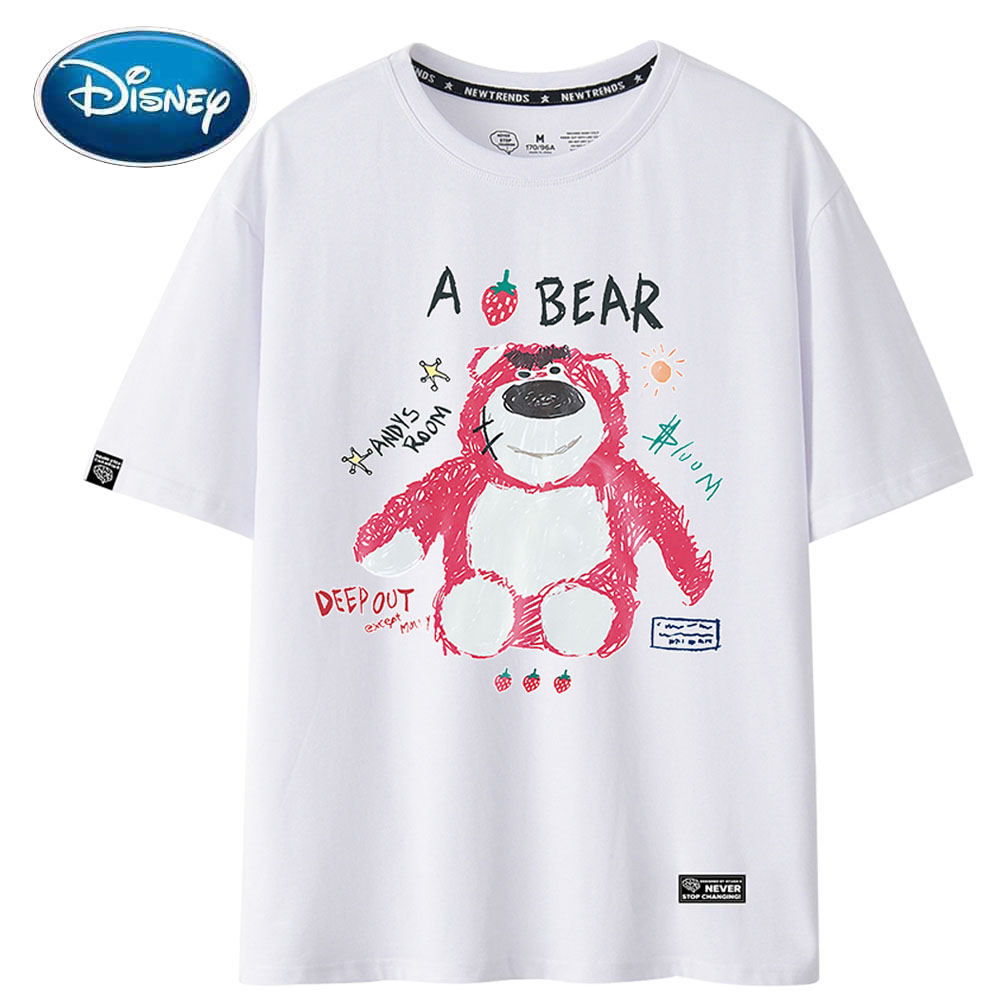Disney T-Shirt Stylish Bear Cartoon Letter Print O-Neck Pullover Cotton Short Sleeve Cute Women T-Shirt Loose Tee Tops 6 Colors
