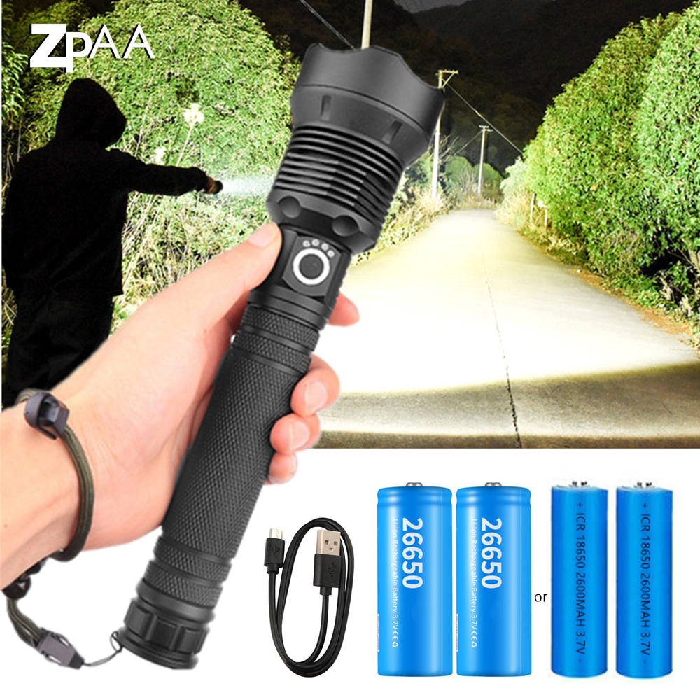 USB Powerful xhp70.2 Flashlight Torch Super Bright Lamp Rechargeable Zoom LED Tactical Torch xhp70 xhp50 18650 or 26650 battery Flashlights & Torches  - AliExpress