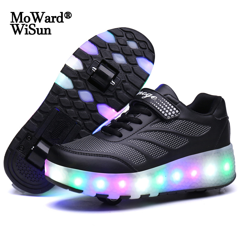 Size 28-43 Led Wheel Sneakers For Kids Adult USB Charging Glowing Roller Shoes With Lights Double Wheels Children Skate Shoes