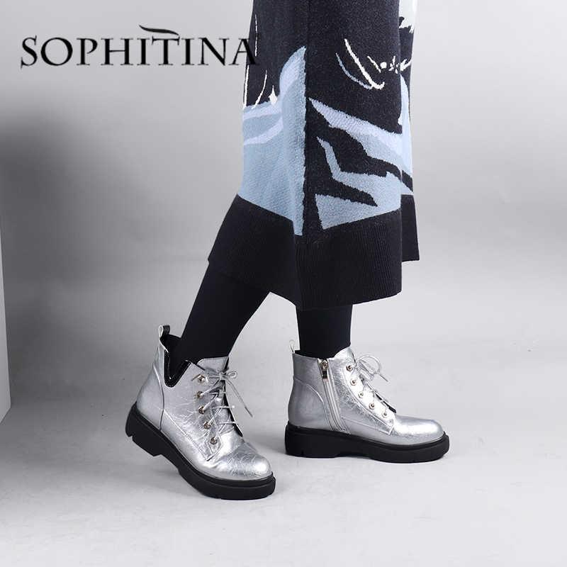 SOPHITINA kaliteli yarım çizmeler moda gümüş yuvarlak ayak fermuar ayakkabı kadın el yapımı düşük kare topuklu rahat bahar botları CQ04