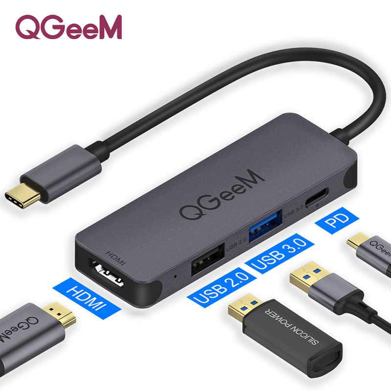 Qgeem usb c hub para macbook pro multi usb 3.1 tipo c hub 3.0 2.0 usb c hdmi adaptador pd doca para huawei companheiro 20 pro otg divisor