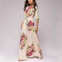 Women Autumn Winter Dress Hot Sale O-neck Half Lantern Sleeve Long for Female Bohemian Elegant Maxi Clothes