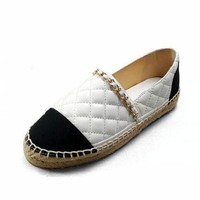 2020 Flat shoes Women Espadrilles Genuine Leather Flats Chain Woman Casual Loafers High Quality Shoes Big Size 34 41