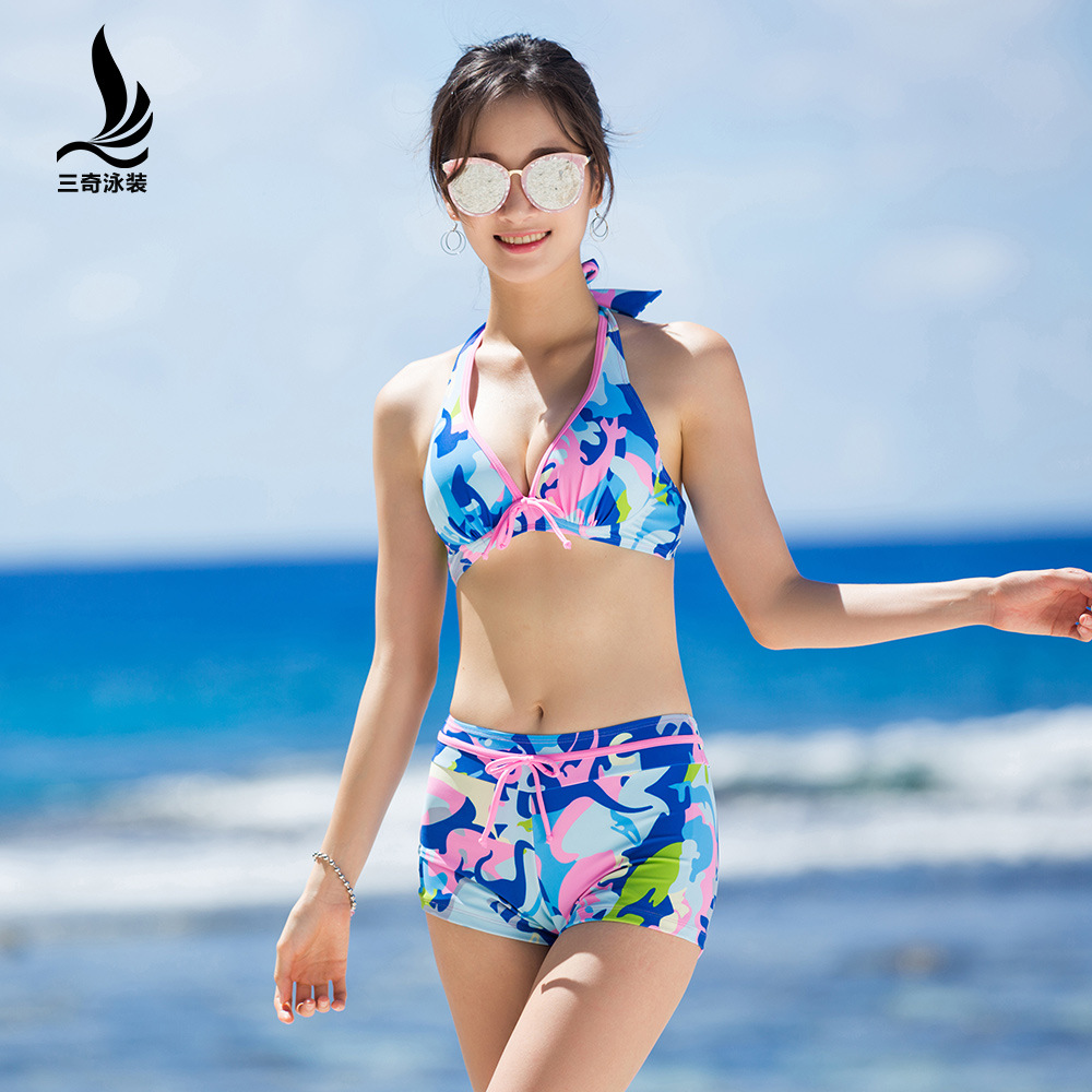 Sanqi Bathing Suit Women's (Only Bikini) Boxers Slimming-Underwire Small Bust Gathering Students Hot Springs Swimwear