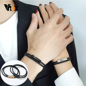 Vnox Casual Personalize Black Genuine Leather Rope Chain Bracelets for Men Women Custom Engrave Make with Charm Clasp Jewelry