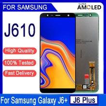 6.0 polegada original para samsung galaxy j6 plus j610 SM-J610F j610fn display lcd montagem da tela de toque para samsung j6 + tela lcd