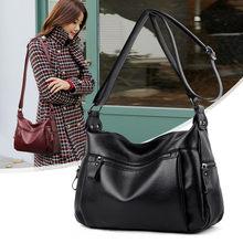 Bolsa de ombro feminina, bolsa simples de couro preta, feminina, de trespassar, estilo carteiro, bolsa de mão