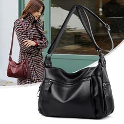 Simple Black Women Shoulder Bags sac a main Crossbody Bags Female Vintage Leather Messenger Bag Bolsa Femininas Designer Handbag