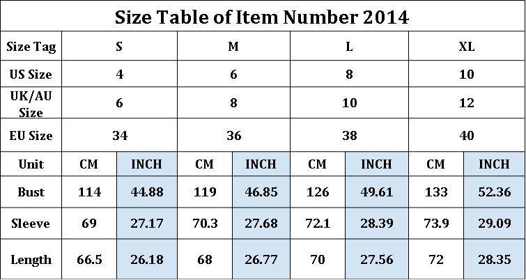 2014size chart