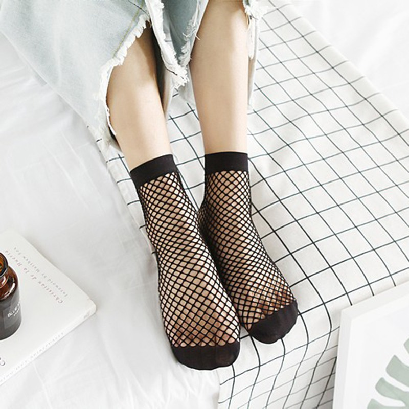 Fashion Women Girls Sexy Black Mesh Socks Summer Hollow Out Breathable Mesh Fishnet Socks Female Ankle Socks