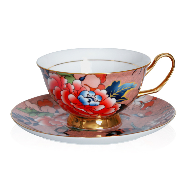 Drinkware Cups & Saucers Ceramic cup Coffee Cup Saucer set taza cafe bone china tea Cup Saucer set European luxury coffee cups